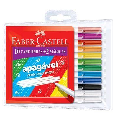 Canetinha hidrocor APAGÁVEL 10 cores Faber Castell