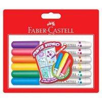 Canetinha hidrocor PINTA VIDRO Faber Castell 6 cores