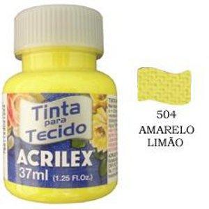 Tinta para tecido amarelo limão Acrilex 37ml.