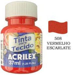 Tinta para tecido vermelho escarlate Acrilex 37ml.