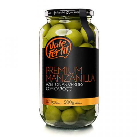 Azeitona especial verde com caroço Premium Manzanilla Vale Fértil vidro 500g