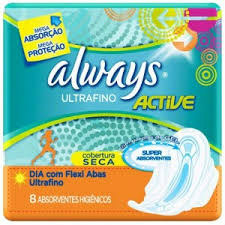 Absorvente ultrafino active cobertura seca com abas Always 8x1