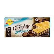 Biscoito wafer sabor chocolate sem adição de açucar Lowçucar 115g.