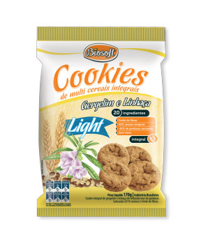 Cookies integrais light gergelim e linhaça Biosoft 170g