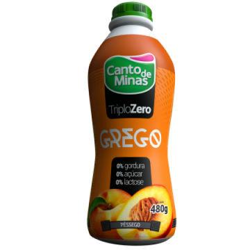 Iogurte Grego triplo zero pêssego Canto de Minas 480g