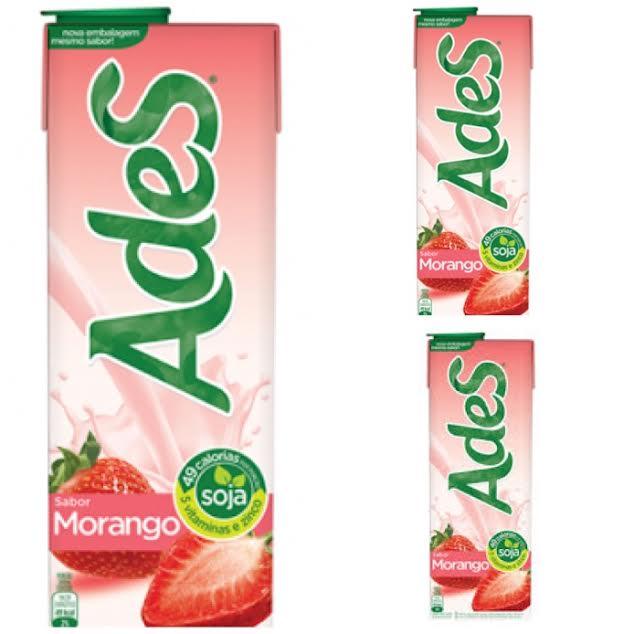 Bebida a base de soja Ades morango 1lt.(pacote c/3 unid.)