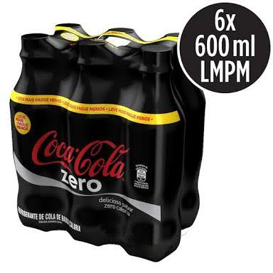 Coca Cola sem açúcar  pet 600ml. (pacote c/6 unid.)