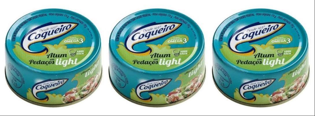 Atum Coqueiro em pedaços sólido em água 170g. (pacote c/3 unid.)
