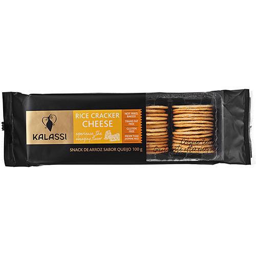 Biscoito salgado de arroz cracker cheese Tailandês Kalassi 100g