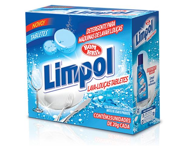 Detergente p/ máquina de lavar louças tabletes Limpol 25x20g