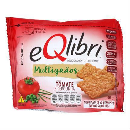 Biscoito multigrãos sabor tomate e cebolinha Eqlibri 45g