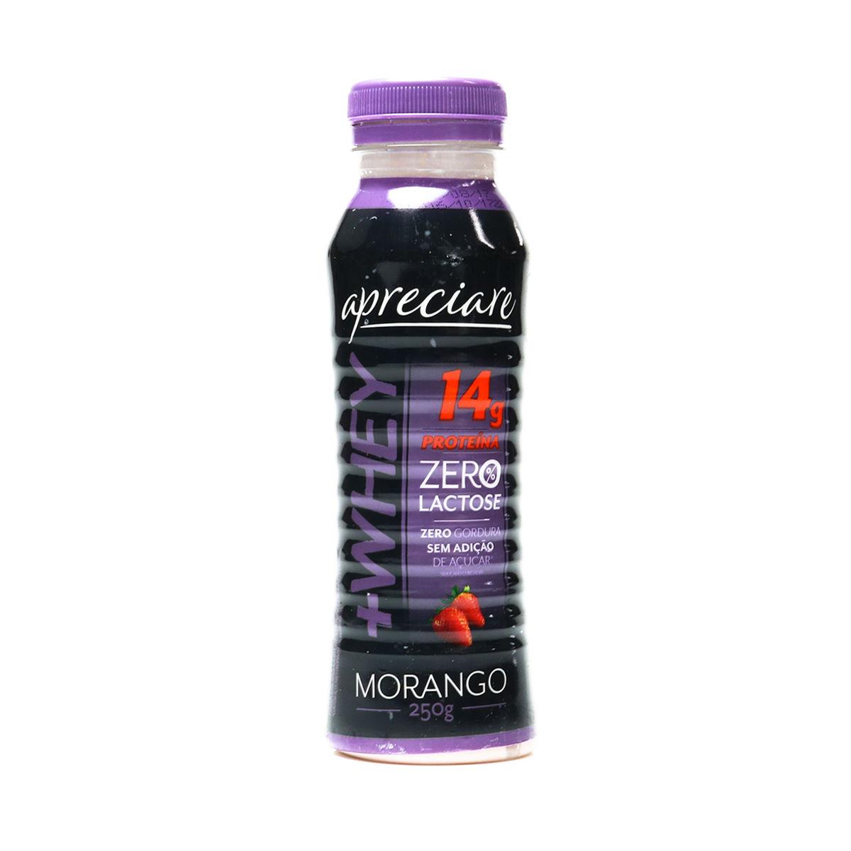 Iogurte proteinado zero lactose s/ açucar sabor morango Apreciare 250g