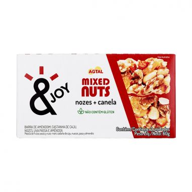 Barra Mixed Nuts Nozes e Canela &Joy 2x30g