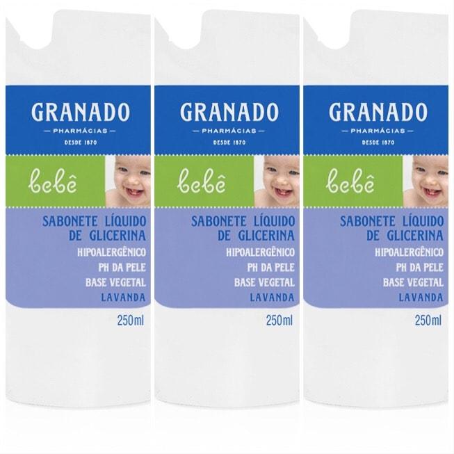 Sabonete líquido Bebê lavanda refil em sachê Granado 250ml (pacote c/ 3 unid.)