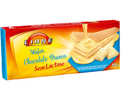 Wafer sabor chocolate branco sem lactose Liane 115g