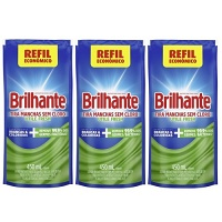Tira manchas antibacteriano Brilhante Utile Fresh sachê 450ml ( pacote c/ 3 unid.)