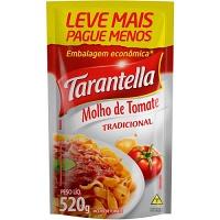 Molho de tomate Tarantella tradicional sachê 520g.