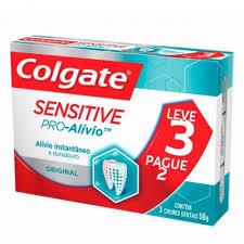 Creme dental pro-alvio sensitive original Colgate 50g (pacote c/ 3 de 50g)
