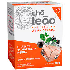 Chá mate + groselha negra preparo em água gelada Leão 25g