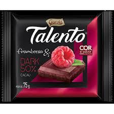Chocolate dark 50% dark cacau sabor framboesa Talento 75g
