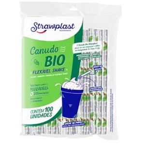 Canudo Bio flexível shake Strawplast 100x1