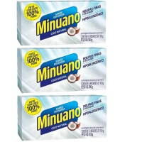 Sabão em barra puro coco Minuano 500g (pacote c/ 3 pacotes)