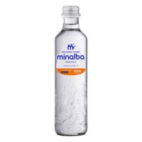 Agua mineral natural com gás Minalba Premium vidro 300ml
