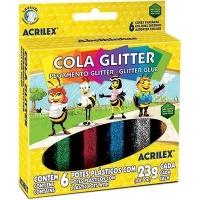 Cola colorida com glitter Acrilex 6 cores