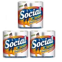 Papel toalha Social clean 2 rolos (pacote c/ 3 pares)
