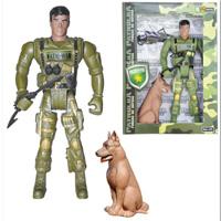 Boneco e cão Fatal War Patrulha defesa