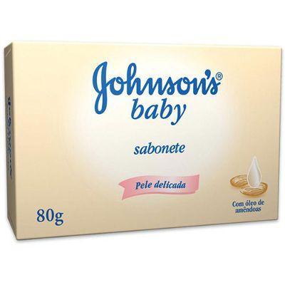 Sabonete Johnson's Baby com óleo de amêndoas 80g.