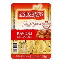 Massa fresca Ravioli recheado com carne Massa Leve 400g.