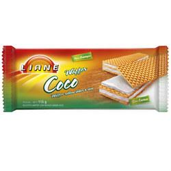 Biscoito wafer sabor coco Liane 115g