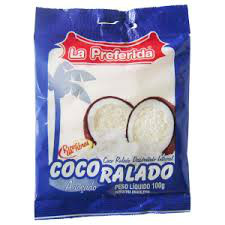 Coco ralado úmido e  adoçado La Preferida 50g