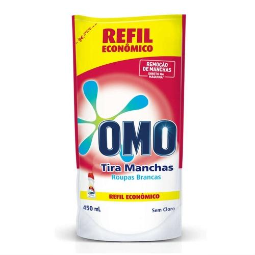 Tira manchas líquido s/ cloro p/ roupas brancas (REFIL SACHÊ) Omo 450ml