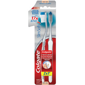 Escova dental slim soft Colgate limpeza profunda 2x1