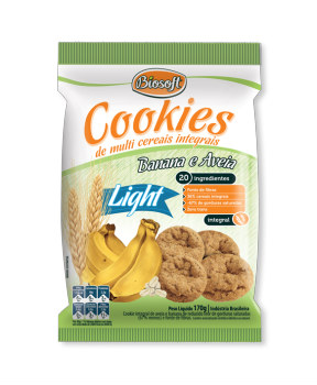 Cookies integrais light banana e aveia Biosoft 170g