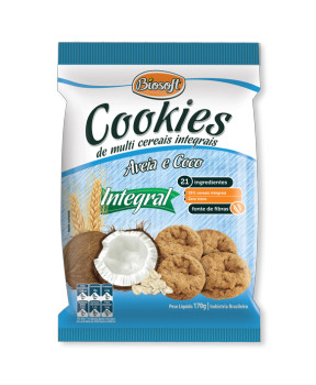 Cookies integrais aveia e coco Biosoft 170g