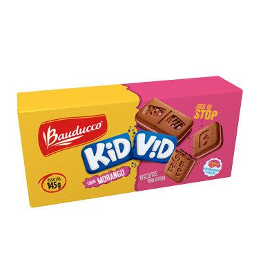 Biscoito recheado c/ morango Kid Vid Bauducco 145g
