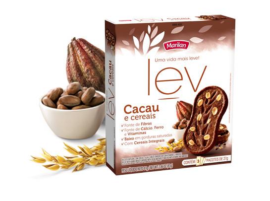 Biscoito Lev cacau e cereal Lev 3x27g Marilan