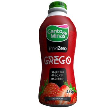Iogurte Grego triplo zero morango Canto de Minas 480g
