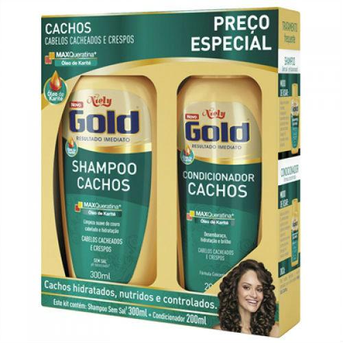 Kit shampoo e condicionador cachos Niely Gold 200ml cada
