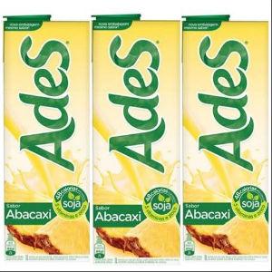 Bebida a base de soja Ades abacaxi 1lt.(pacote c/3 unid.)