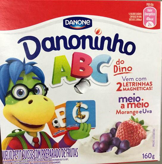 Petit suisse  abc do Dino meio morango e meio uva Danone 160g