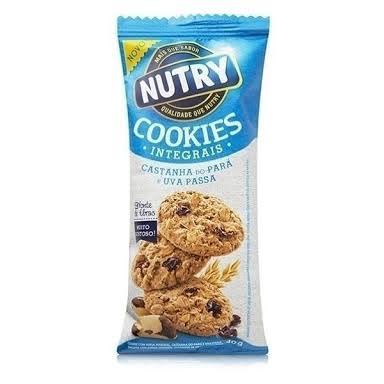 Cookies integrais castanha do Pará e uva passas Nutry 40g