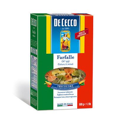 Massa grano duro Italiana farfalle tricolere De Cecco 500g