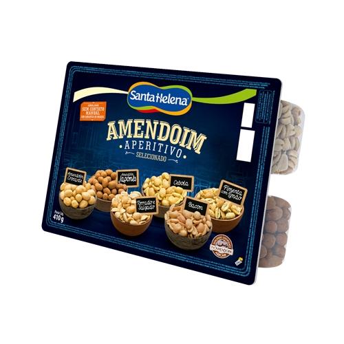 Mix de amendoins aperitivo na bandeja Santa Helena 410g