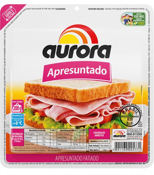 Apresuntado fatiado embalado a vácuo Aurora 200g